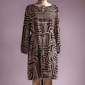 Tahari Size 14 Black & Tan Shift Dress
